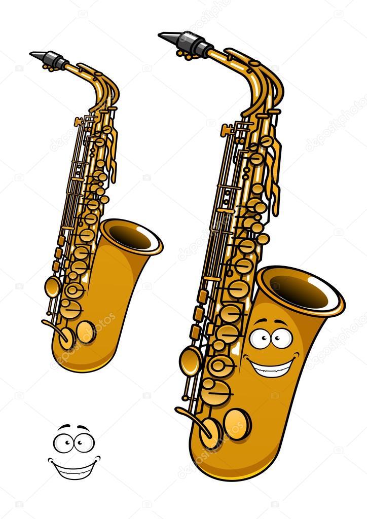 Personnage de dessin anim brillant laiton saxophone - Dessin saxophone ...