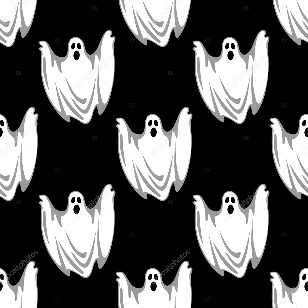 Cartoon scary ghosts in Halloween seamless pattern — Stock Vector ...