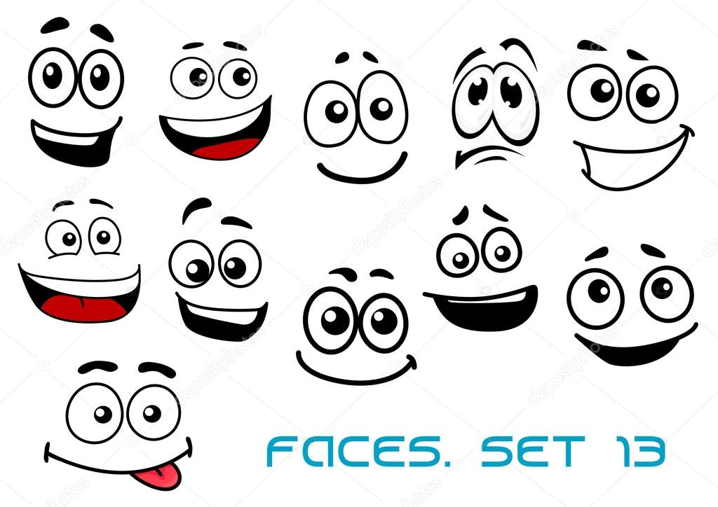 Stock Illustration Cartoon Faces With Various Emotions on Tegne Show 1