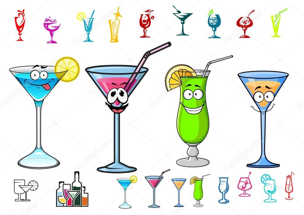 Cocktails heureux dessin anim avec des personnages de pailles image vectorielle seamartini - Dessin cocktail ...