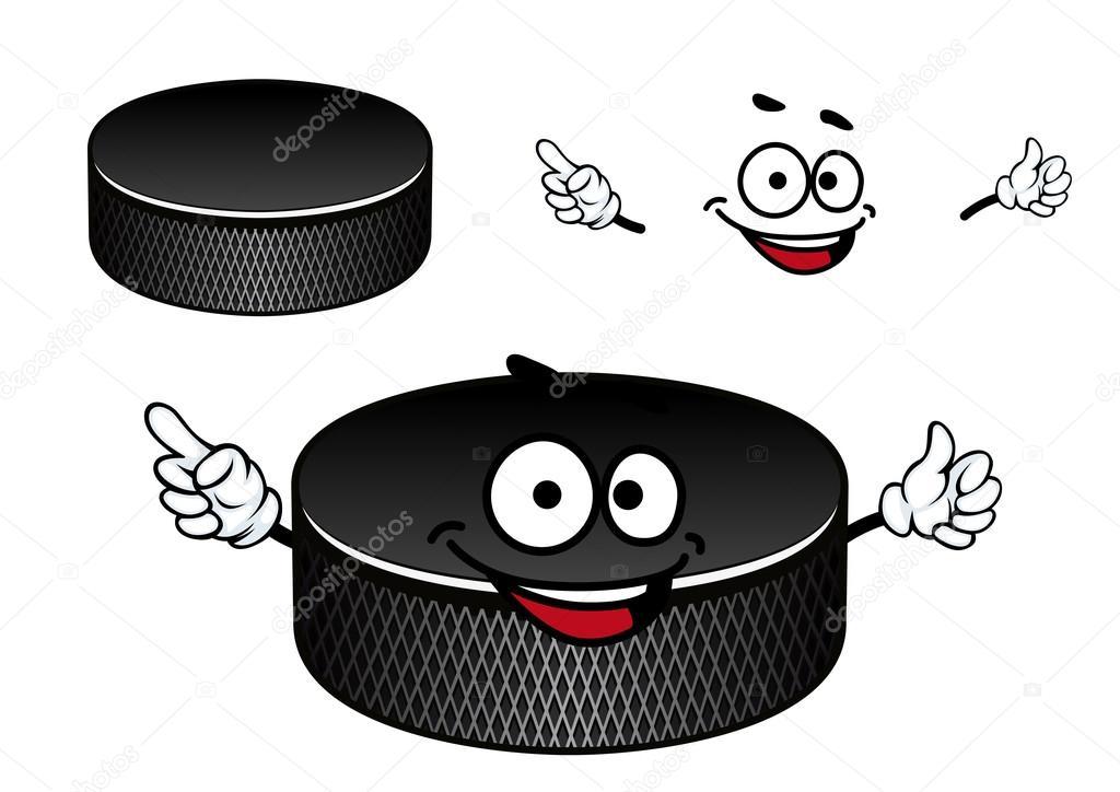 Personnage de dessin anim rondelle en caoutchouc noir de hockey sur glace image vectorielle - Dessin hockey sur glace ...