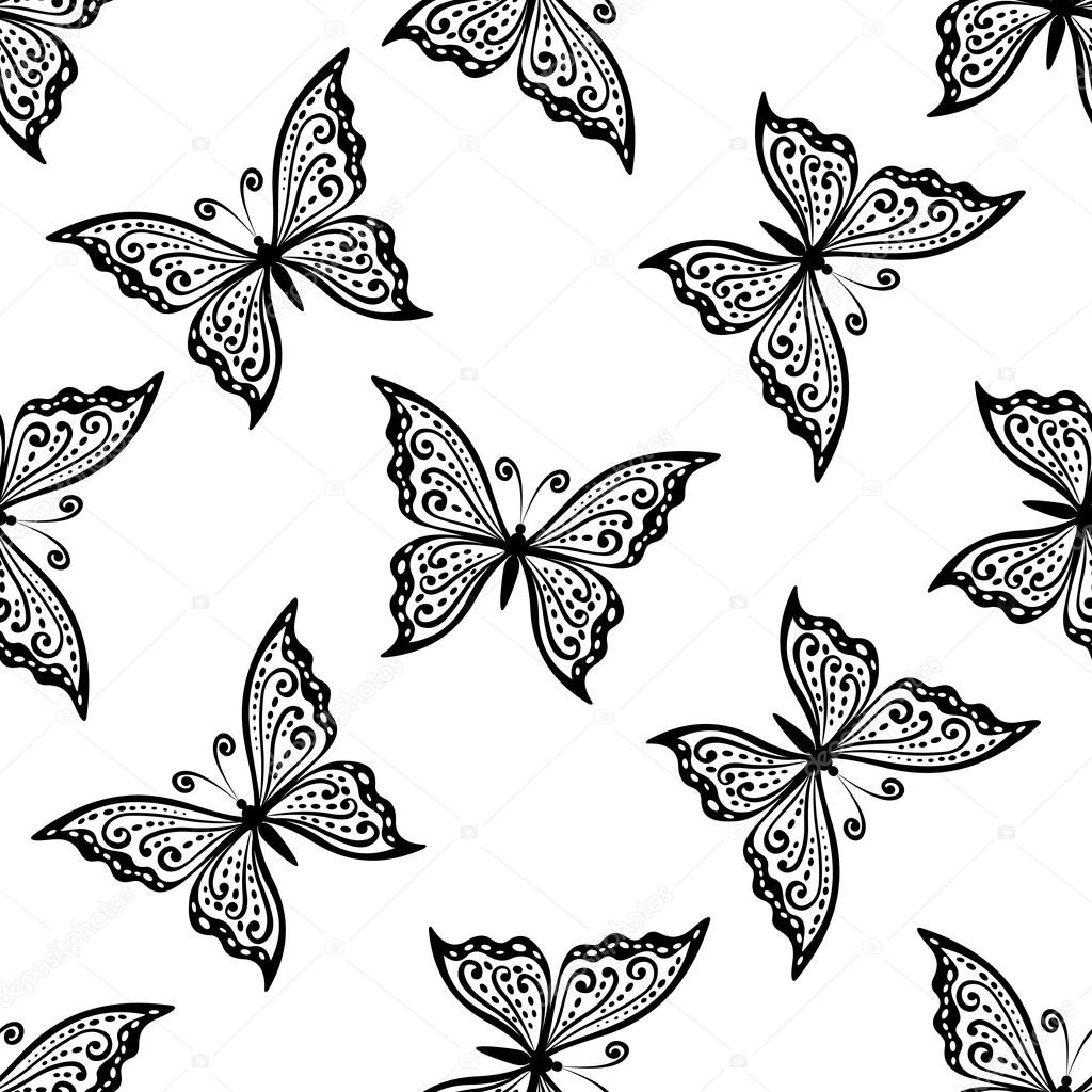 outline flying butterflies seamless pattern u2014 stock vector