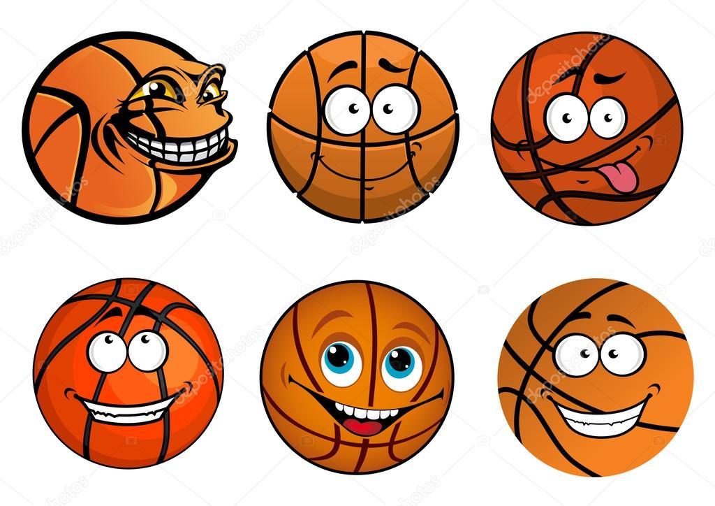 desenhos animados feliz tradicional basquete em forma de bolas de