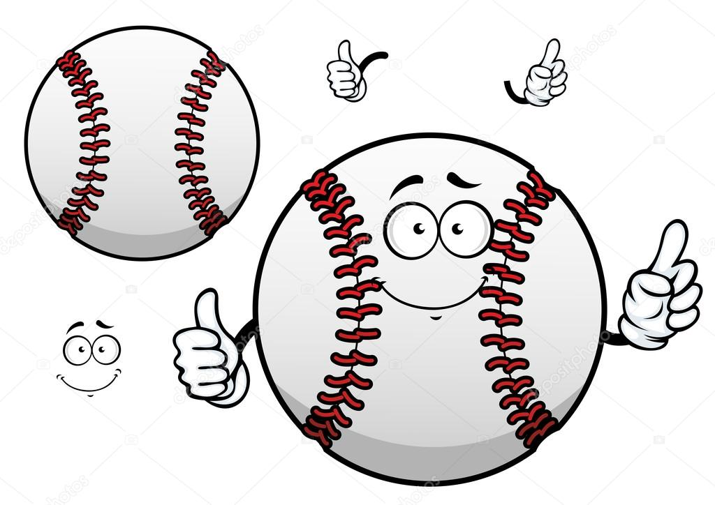 Cartoon Baseball Ball With Thumb Up Mdash Stock Vector