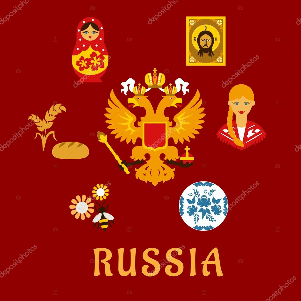 russian traditional national flat symbols stock vector russian traditional national flat symbols stock vector 70746599