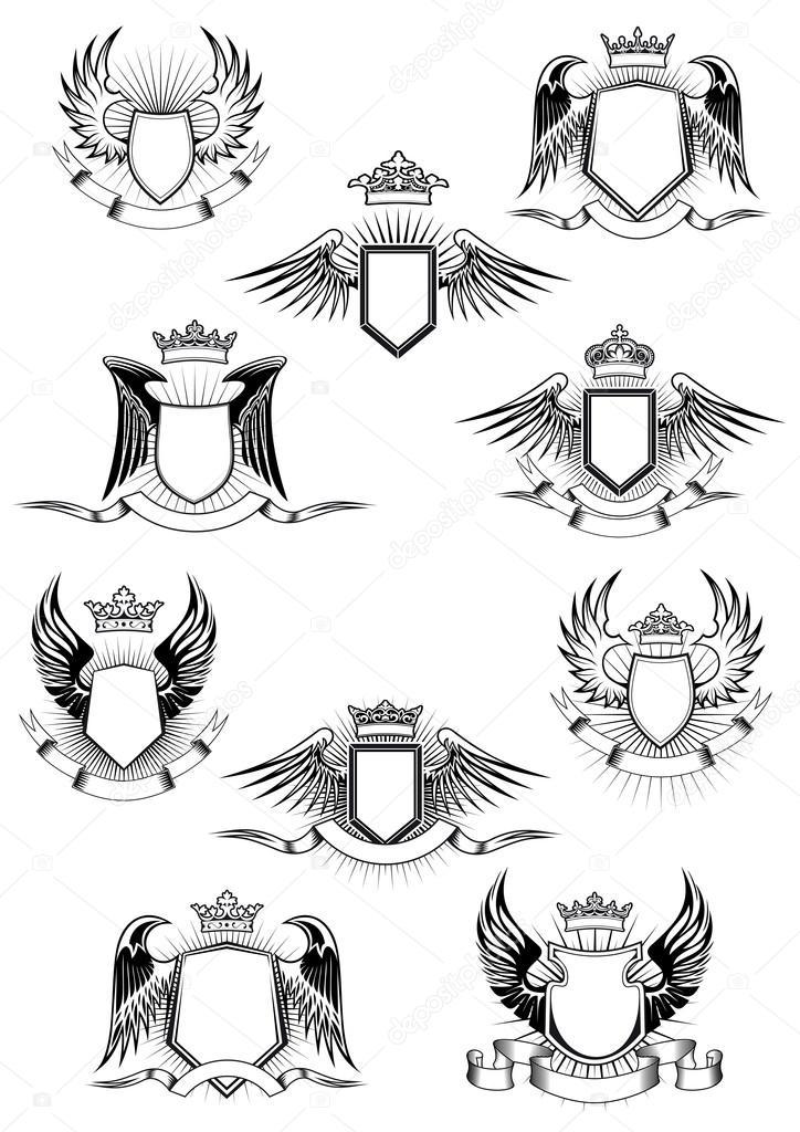 Heraldische geflügelte Schilde mit Kronen und Band-Banner ...