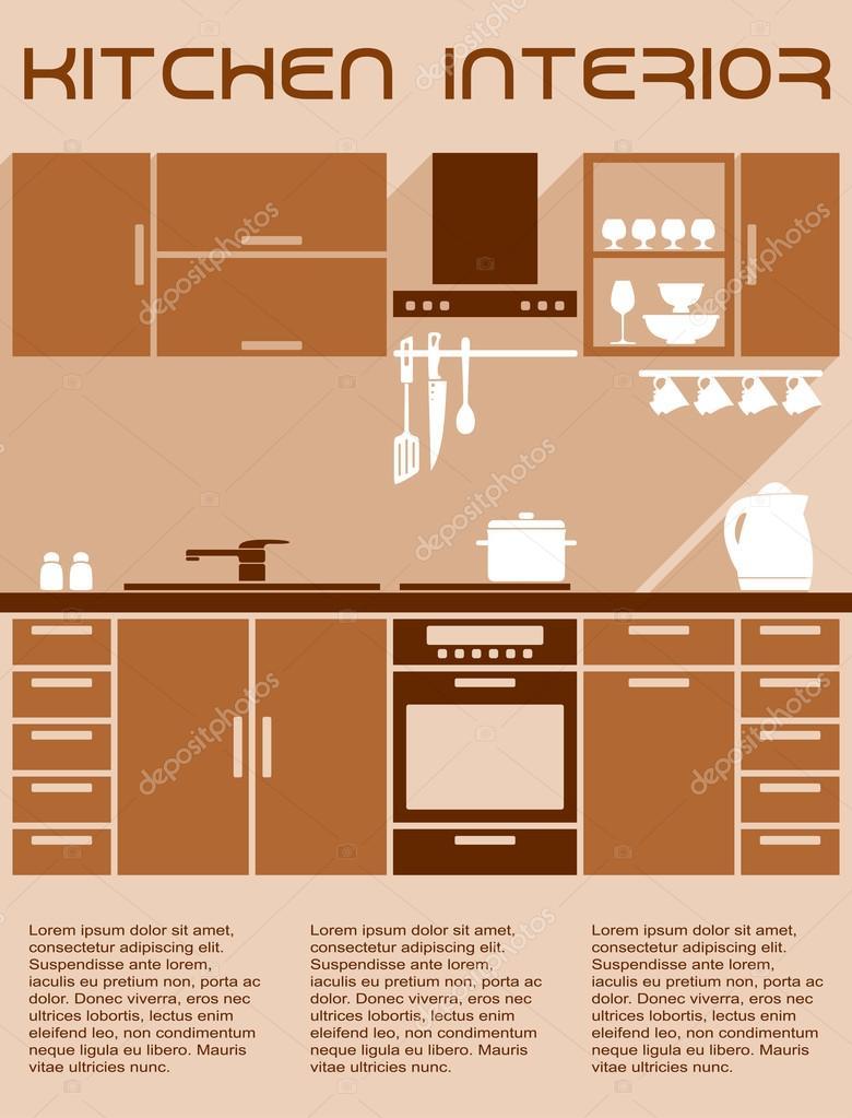 Design De Interiores De Cozinha Marrom E Bege Em Estilo Simples