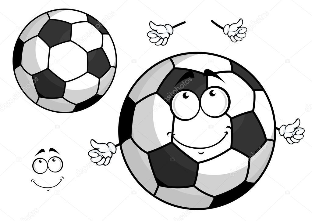 Cartoon Fussball Oder Fussball Kugel Maskottchen Stockvektor