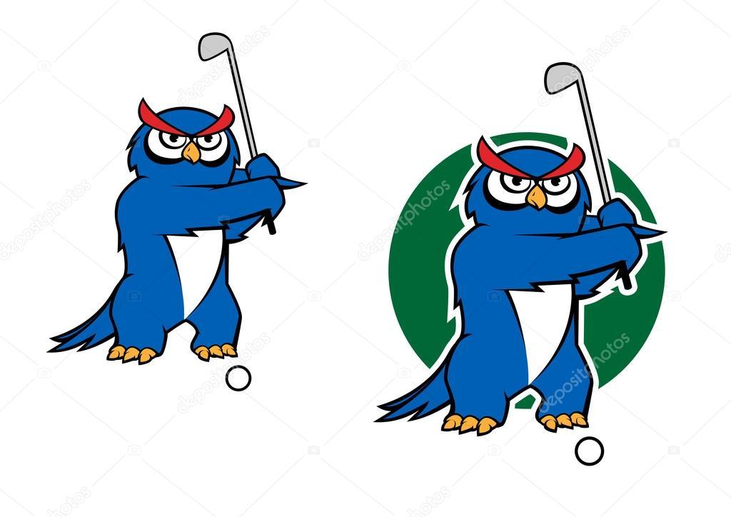 De dibujos animados búho mascota jugando al golf — Vector de stock ...