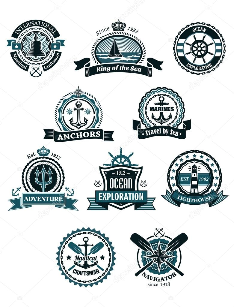 marine icons and badges with nautical symbols stock vector