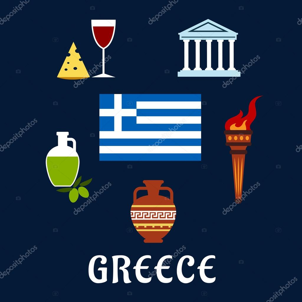 Traditional Greece Symbols And Culture Icons Stock Vector