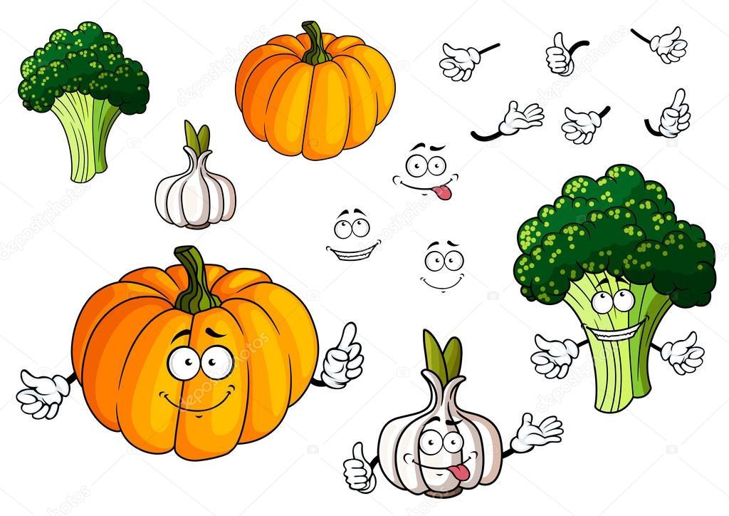 Dibujos Animados De Verduras Calabaza, Ajo Y Brócoli