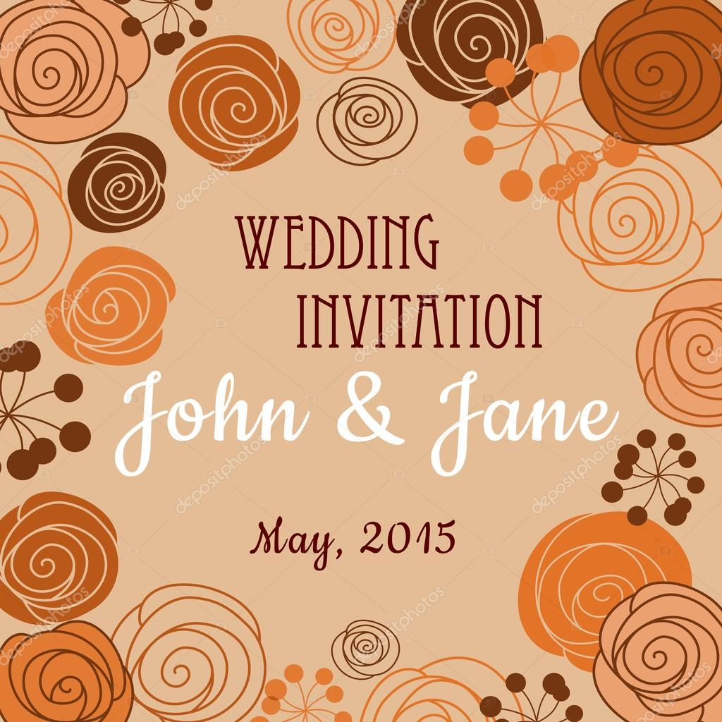 Wedding invitation template with floral border vetor de stock wedding invitation template with floral border vetor de stock stopboris Images