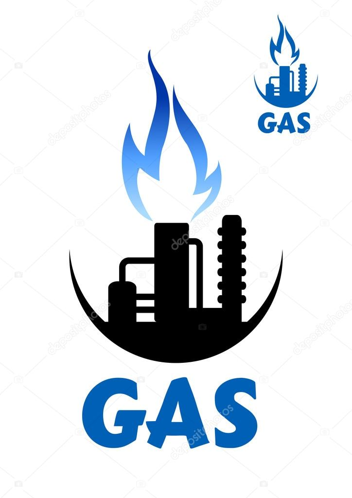 Natural Gas Factory Complex With Blue Flame Stock Vector