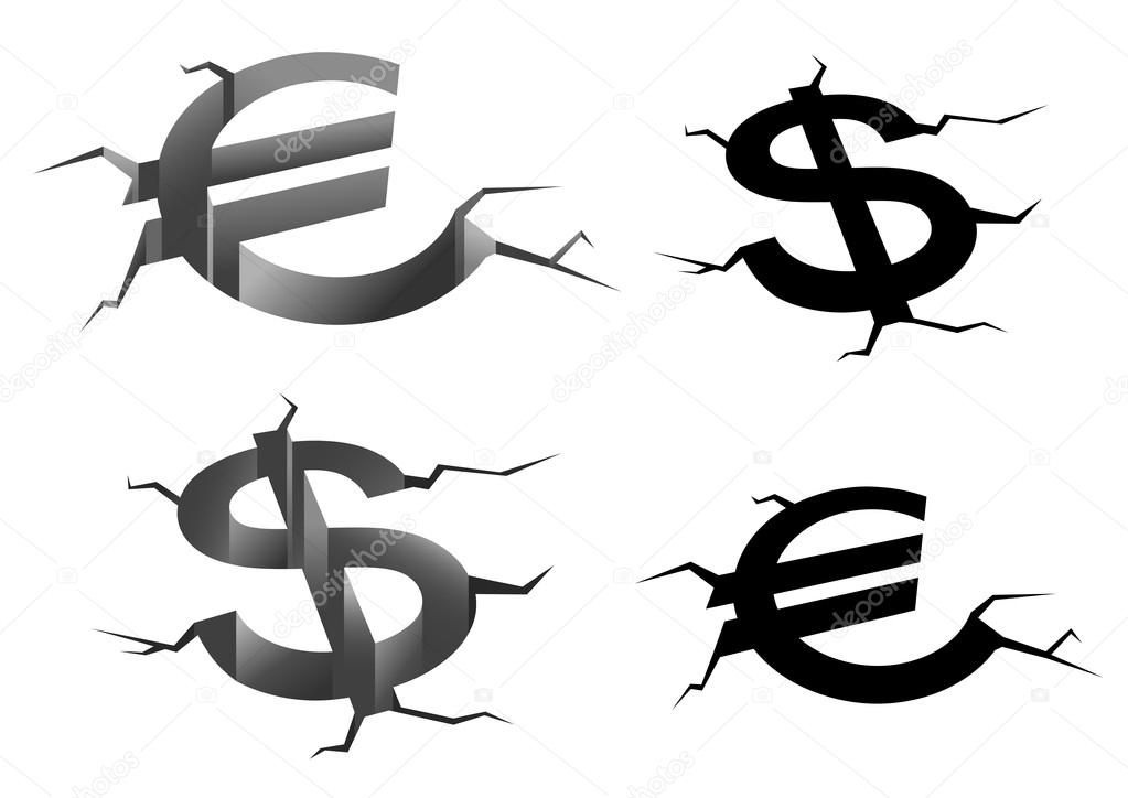 Dollar And Euro Cracked Symbols Stock Vector Seamartini 78968612