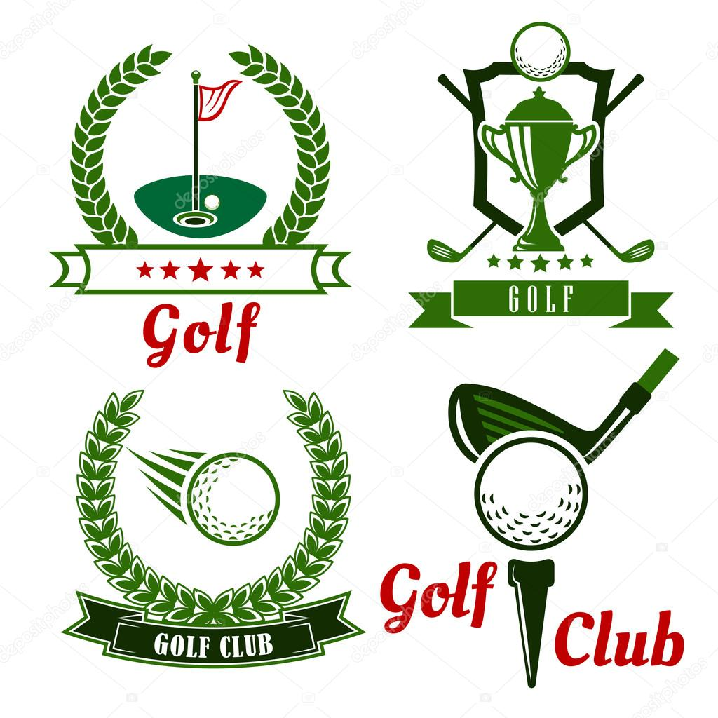Golf Game Icons Emblems And Symbols Stock Vector Seamartini