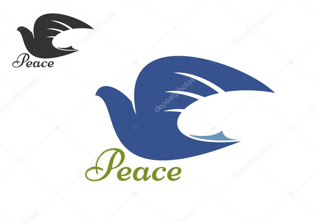 Dove Blue Silhouette As A Symbol Of Peace Stock Vector