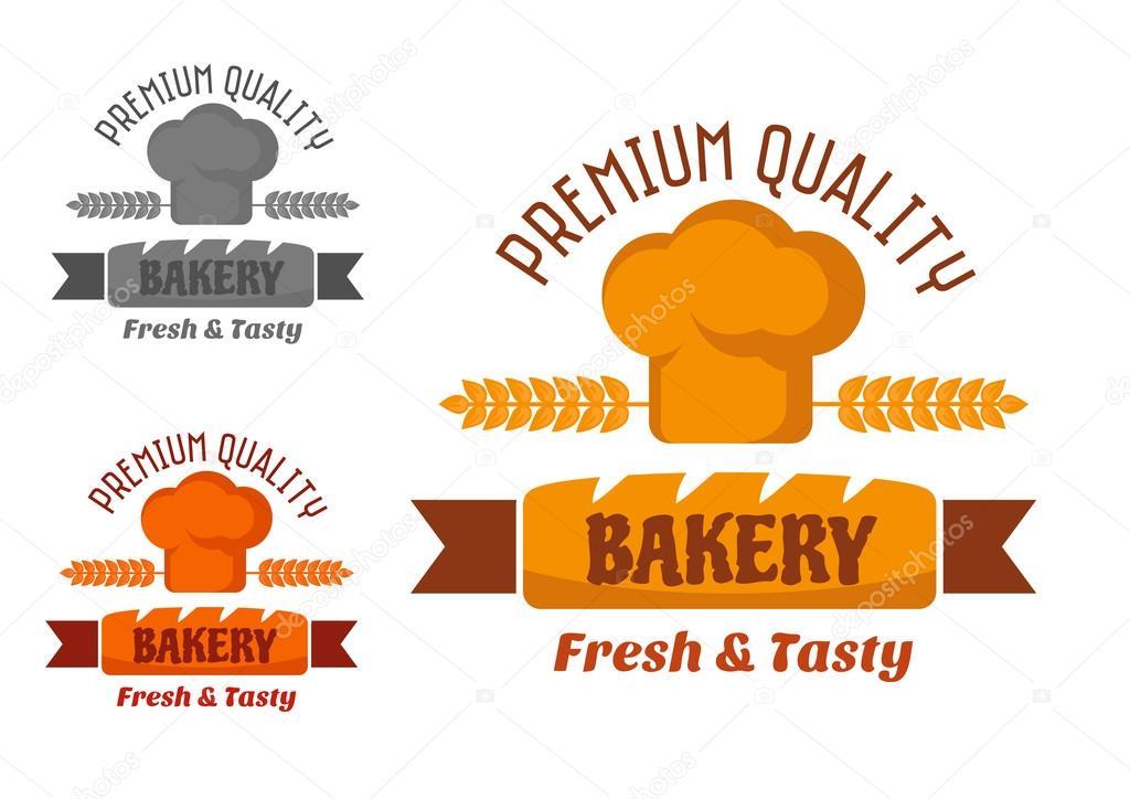 Bäckerei Emblem Mit Frischem Brot Und Chef Hut Oder Haube Mit Ohren In Gelbe  Und Braune Farben Verziert U2014 Vektor Von Seamartini