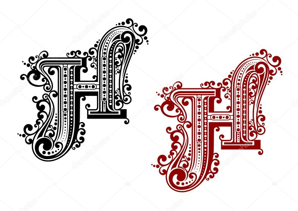 Black And Red Capital Letter H In Calligraphic Floral Style With Decorative Flourishes Isolated On White Background Vector By Seamartini