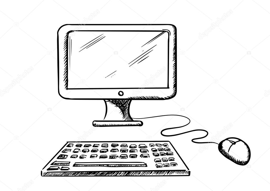 desktop computer with mouse and keyboard — stock vector