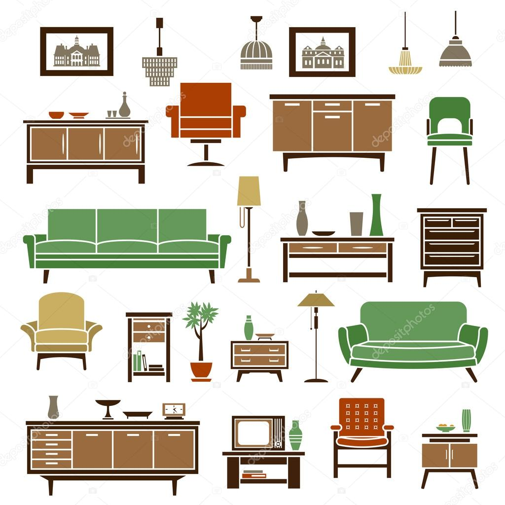 Home Element Furniture: Home Furniture Elements In Flat Style