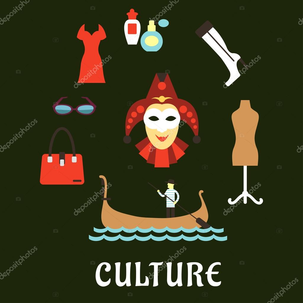 Italian Culture And Travel Flat Icons Stock Vector Seamartini