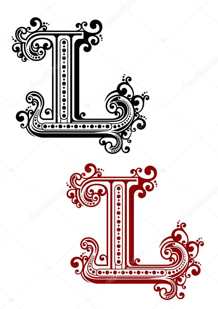 Gothic Letter L With Ornamental Curlicues Stock Vector