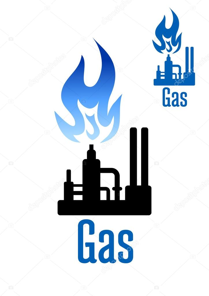 Gas Processing Factory Icon With Blue Flame Stock Vector