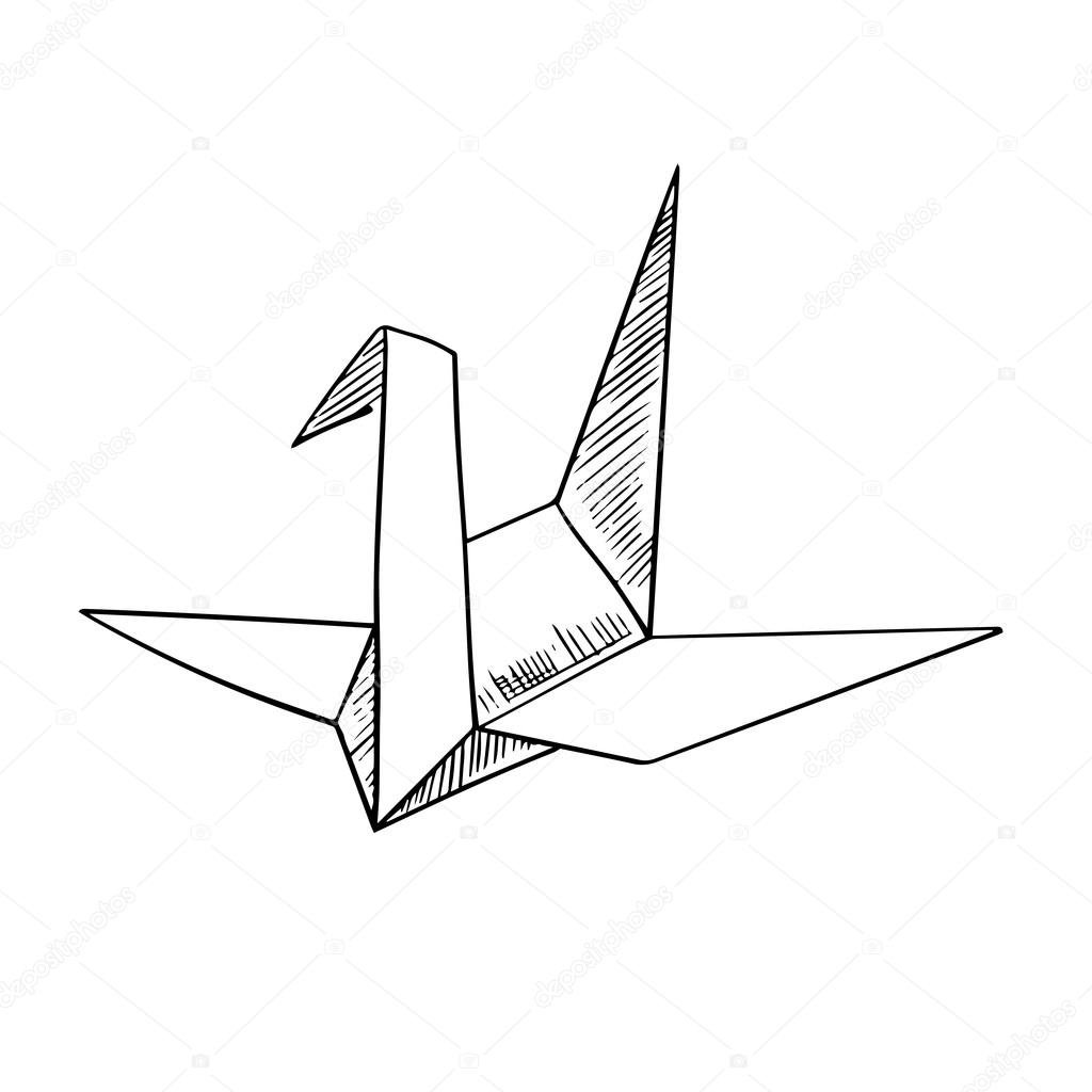Origami Crane Paper Bird Sketch Icon Stock Vector