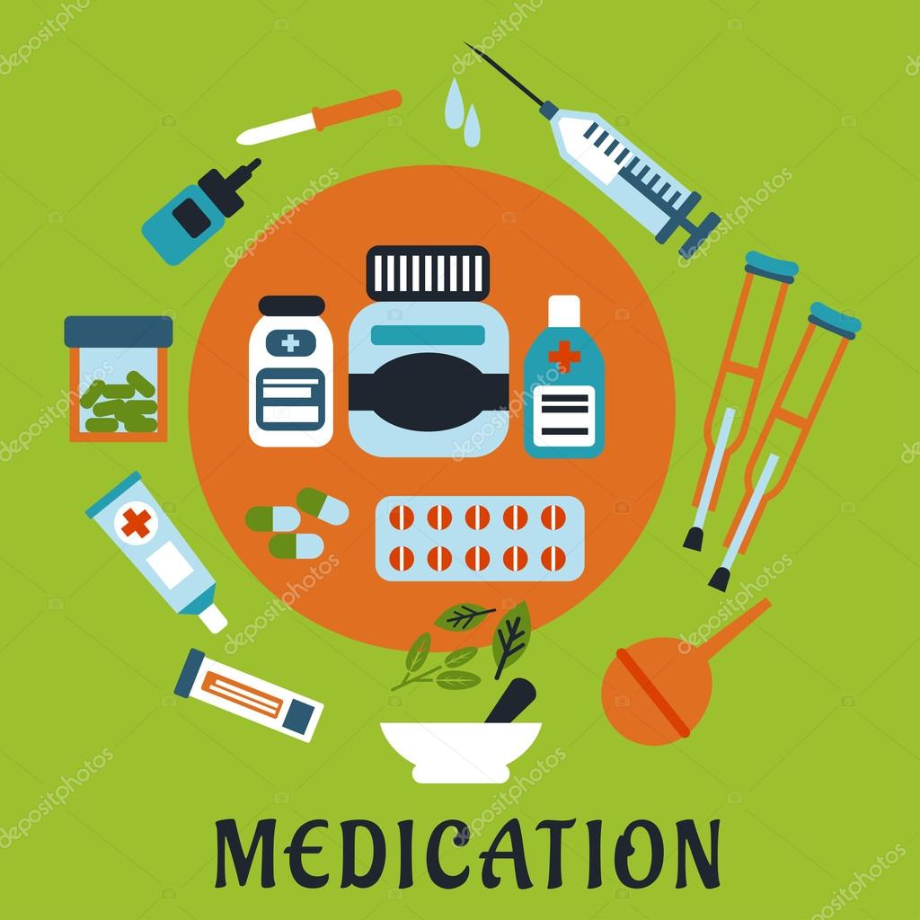 Medication Icons With Drugs And Tools Stok Vektör Seamartini