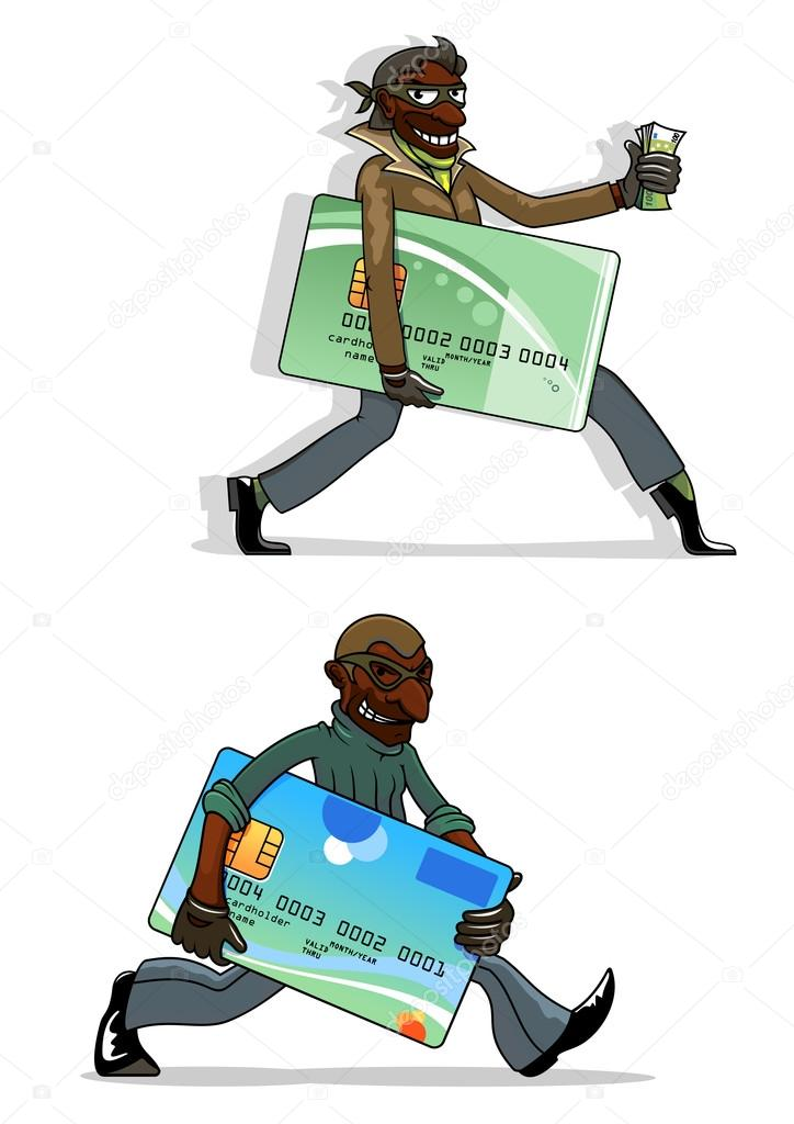 Cartoon thieves with bank cards and money — Stock Vector ...