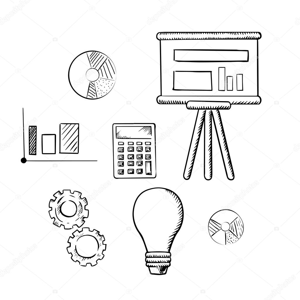 Flip chart graphs calculator idea and gears stock vector flip chart with graphs pie charts bar graph calculator idea light bulb and gears sketch icons for business report presentation and meeting concept ccuart Image collections