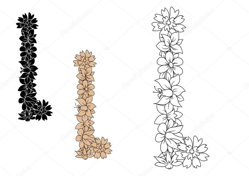 Capital Letter L With Retro Outline Flowers Stock Vector
