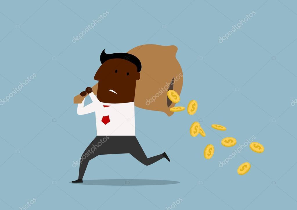 cartoon businessman losing money from bag vetor de stock