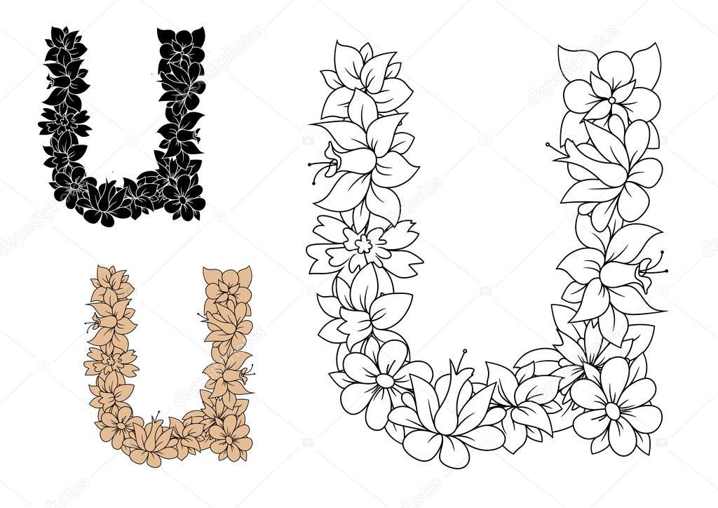 Decorative Letter U With Vintage Floral Pattern Stock Vector