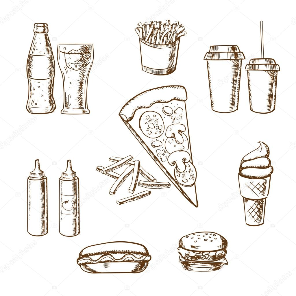 Fast Food Snacks And Drinks Sketches Stock Vector Seamartini