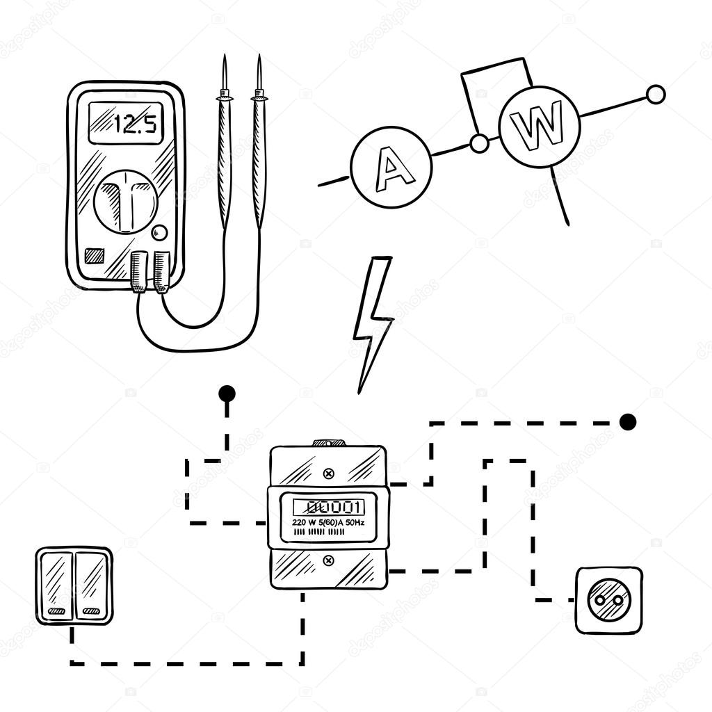 voltmeter electricity meter and electrical circuit sketch stock 320 Amp Meter Base Wiring Diagram digital voltmeter electricity meter with socket and switches electrical circuit diagram sketch icons for electrical supplies and diagram design vector