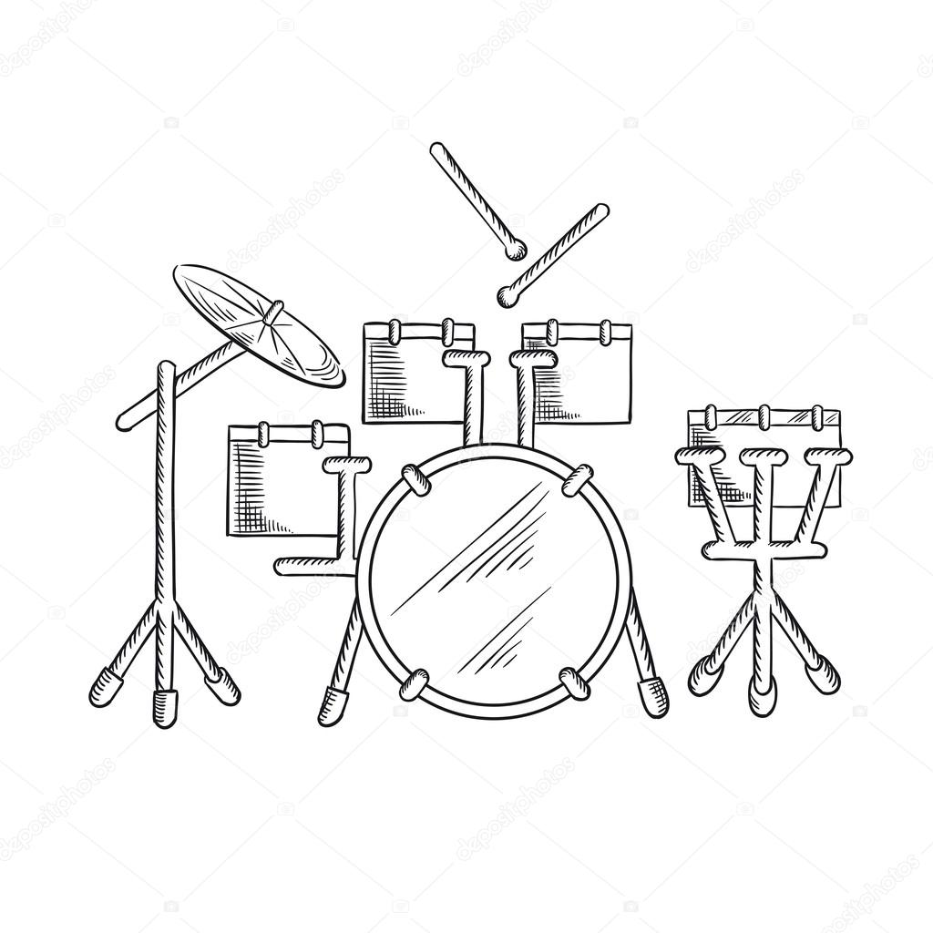Sketch Of Drum Set With Traditional Kit Stock Vector C Seamartini