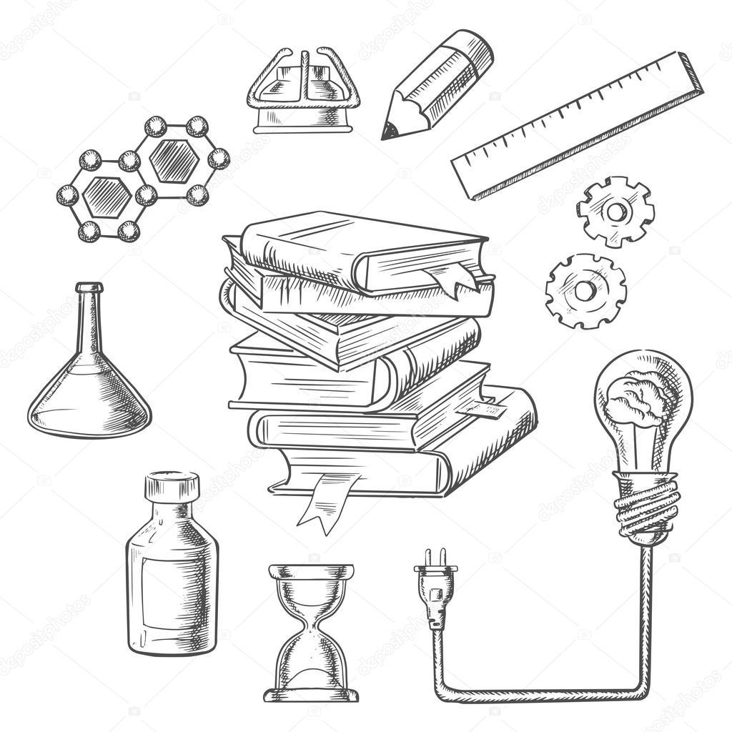 Skizze Symbole Wissen und Web-Bildung — Stockvektor © Seamartini ...