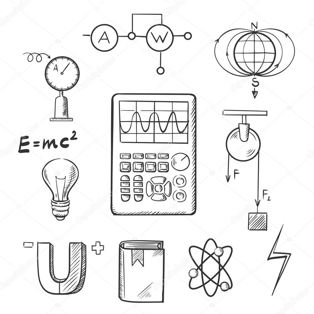 Physics And Mechanics Sketch Icons Seamartini 96212018