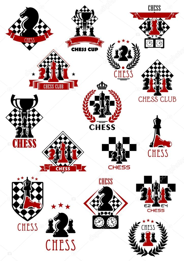 Chess Sport Game Icons Emblems And Symbols Stock Vector