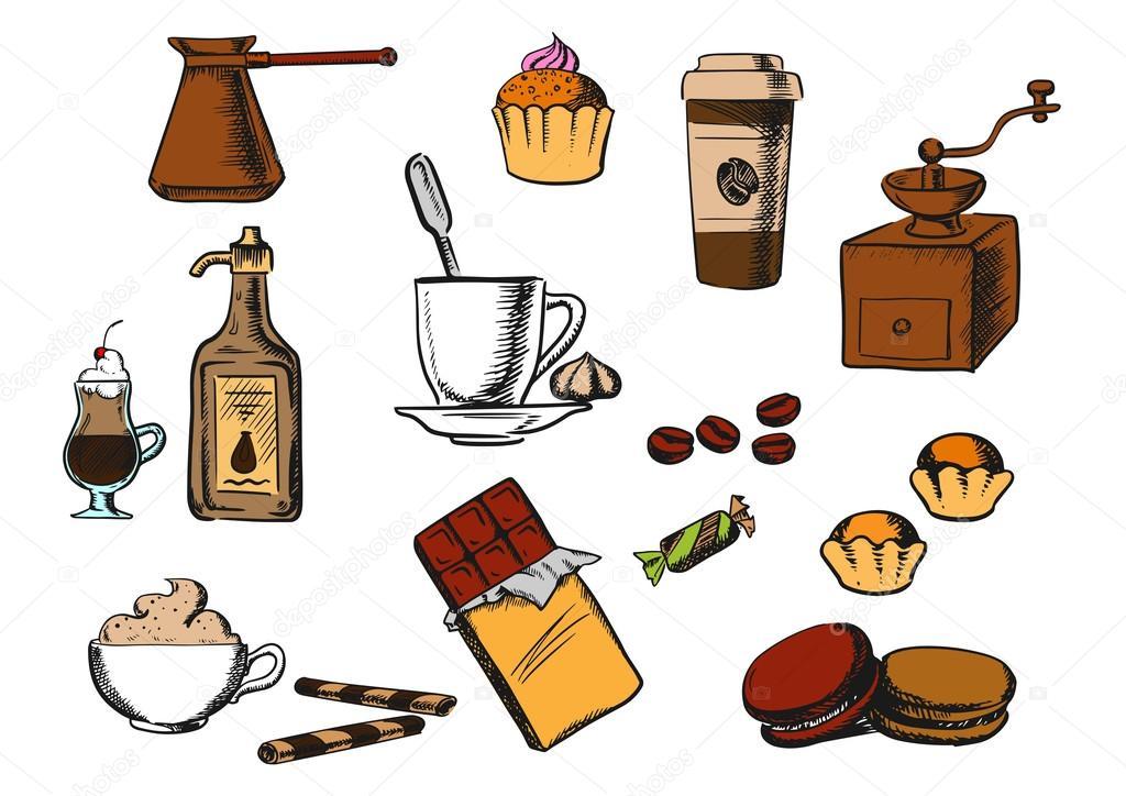 Kaffeegetränke und Dessert Symbole — Stockvektor © Seamartini #98673698