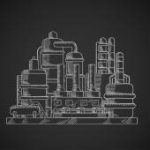 Oil refinery factory in outline style
