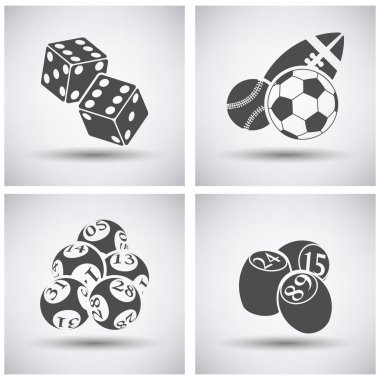 Gambling icon set on grey