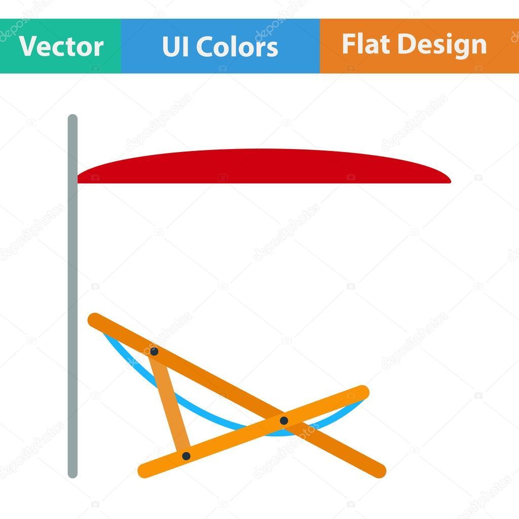 Flaches Design Ikone Von Meer Strand Liege Mit Sonnenschirm In Ui Farben.  Vektor Illustration U2014 Vektor Von Angelp