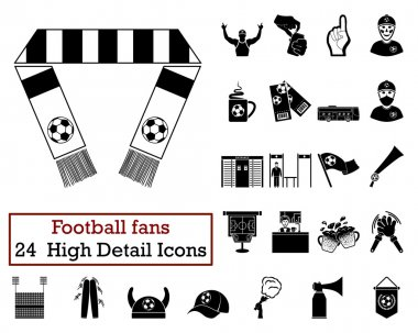 Set of 24 Football Fans Icons