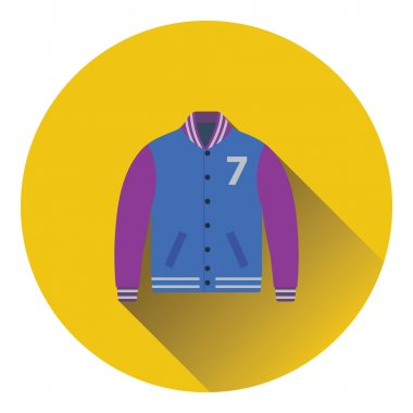 Baseball jacket icon. Flat color design. Vector illustration. stock vector