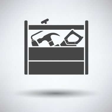Retro tool box icon on gray background, round shadow. Vector illustration. stock vector