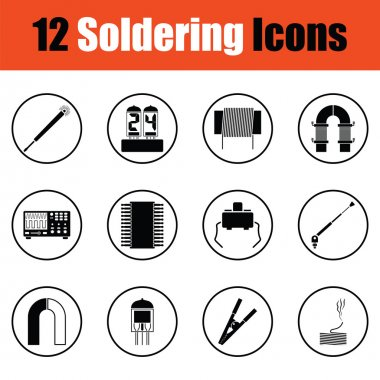Set of soldering  icons.  Thin circle design. Vector illustration. stock vector