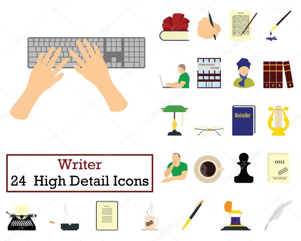 Conjunto de 24 iconos del escritor — Archivo Imágenes Vectoriales ...